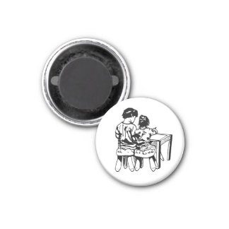 Vintage Drawing of Big Brother and Little Sister 3 Cm Round Magnet