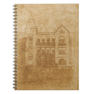 Vintage drawing of building notebook