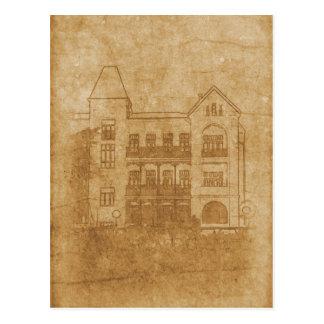 Vintage drawing of building postcard