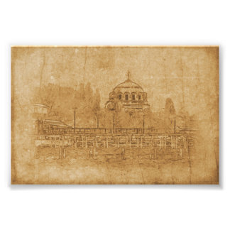 Vintage drawing of cathedral photo print