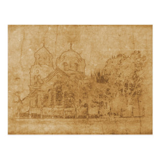 Vintage drawing of church postcard