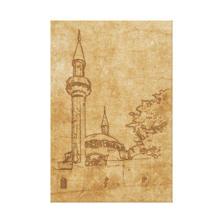 Vintage drawing of Juma-Jami Mosque Canvas Print