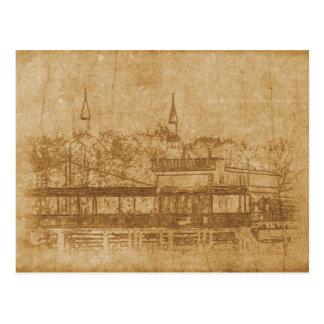 Vintage drawing of minaret postcard