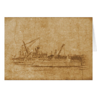 Vintage drawing of sea port card
