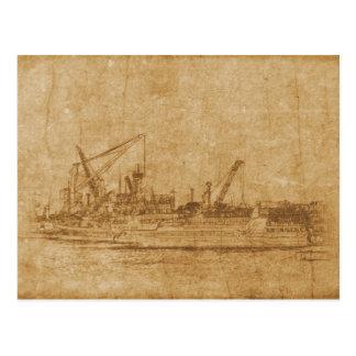 Vintage drawing of sea port postcard