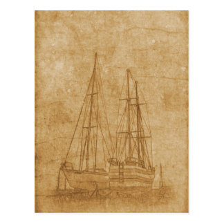 Vintage drawing of yacht club postcard