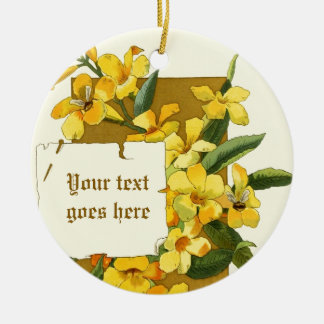 Vintage drawing of yellow jasmine ornament
