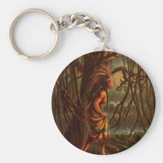 Vintage Drawing: Pocahontas, The Indian Princess Basic Round Button Key Ring