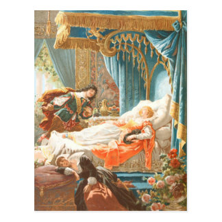 Vintage Drawing: Sleeping Beauty Postcard