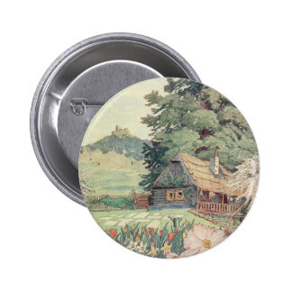 Vintage Drawing: Small Mountain Cottage in Spring 6 Cm Round Badge