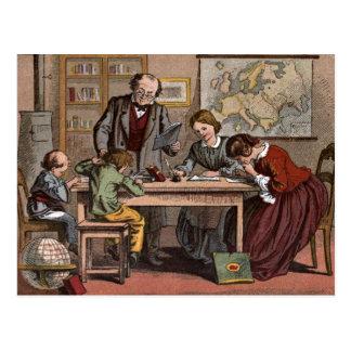 Vintage Drawing: The Antique School Teacher Postcard