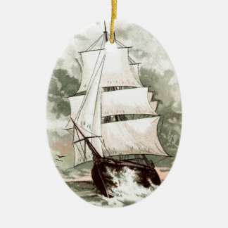 Vintage Drawing: Three Masted Ship Ceramic Ornament
