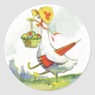 Vintage Dressed Easter Duck Stickers