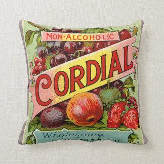 Vintage Drink Label Non Alcoholic Cordial Throw Pillows