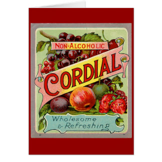 Vintage Drink Label Non Alcoholic Cordial Greeting Card
