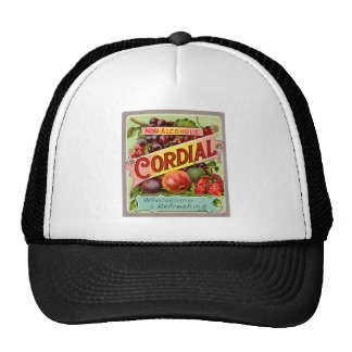 Vintage Drink Label Non Alcoholic Cordial Hats