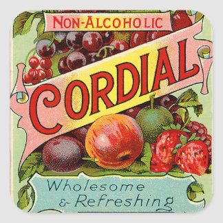 Vintage Drink Label Non Alcoholic Cordial Square Sticker