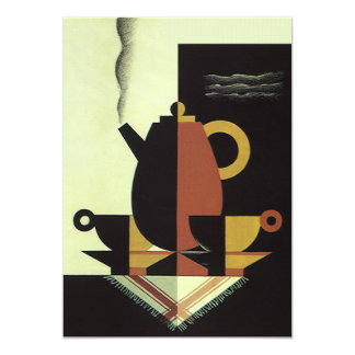 Vintage Drinks Beverages Coffee Pot with Cups Card