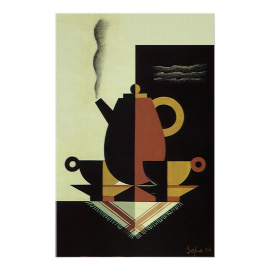Vintage Drinks Beverages Coffee Pot with Cups Poster