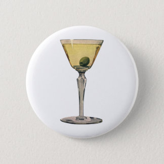 Vintage Drinks Beverages, Martini Olive Cocktail 6 Cm Round Badge