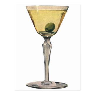Vintage Drinks Beverages, Martini Olive Cocktail Postcard
