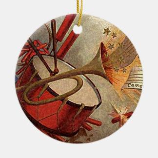vintage drum and trumpet decor ceramic ornament