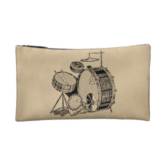 Vintage Drum Kit Drums Makeup Bags