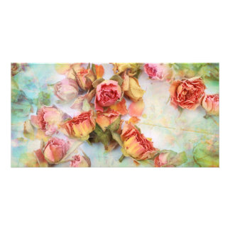 Vintage dry roses wedding custom photo card