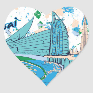 vintage dubai us e design heart sticker