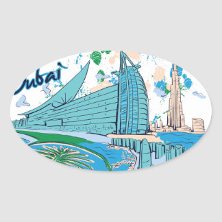 vintage dubai us e design oval sticker
