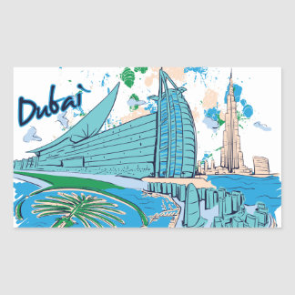 vintage dubai us e design rectangular sticker