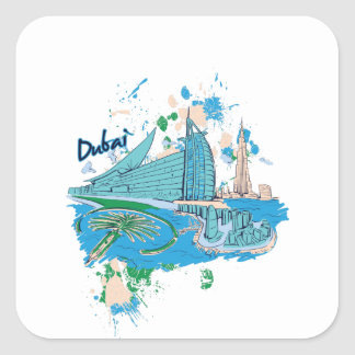 vintage dubai us e design square sticker