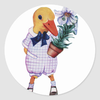 vintage duckling with flowers classic round sticker