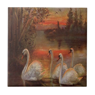 Vintage Ducks on The Lake Small Square Tile