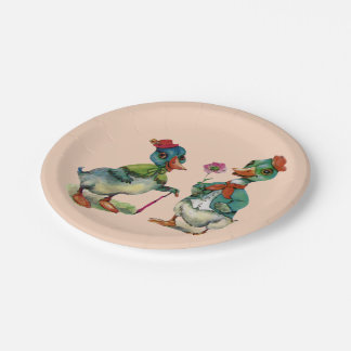 Vintage Ducks Spring Couple Paper Plate