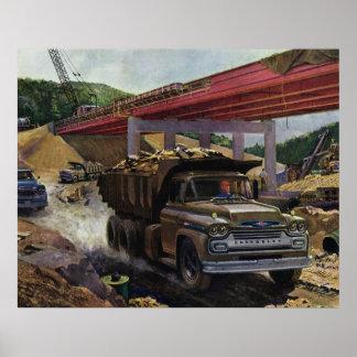 Vintage Dump Truck on a Construction Site Print