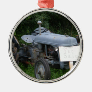 Vintage Dusky Blue Tractor Metal Ornament