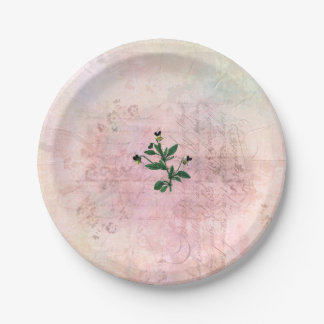 Vintage Dusted Pink and Gold Pansy Paper Plate