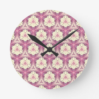 Vintage Dusty Rose Feminine Pattern Wallclock