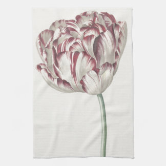 Vintage Dutch Art: White and Red Tulip Tea Towel