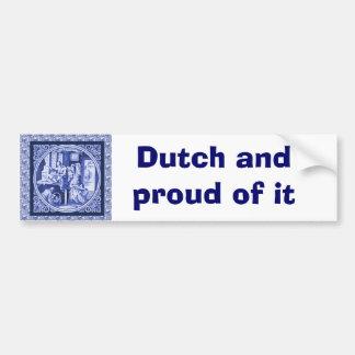 Vintage Dutch Blue Delft tile design Bumper Sticker
