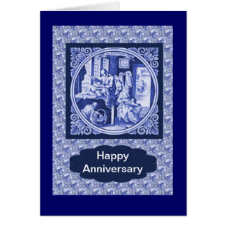 Vintage Dutch Blue Delft tile design Card