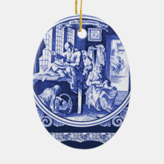 Vintage Dutch Blue Delft tile design Ceramic Ornament