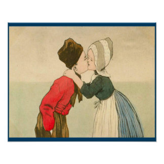 Vintage Dutch design, 1905 Girl and boy kissing Poster