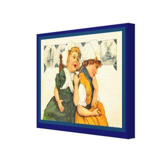 Vintage Dutch design, 1905, Girls,blue Delft tiles Stretched Canvas Prints