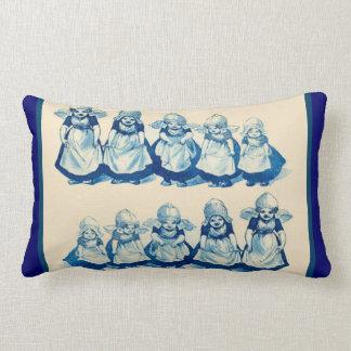 Vintage Dutch design, 1905 Little Dutch girls Lumbar Cushion