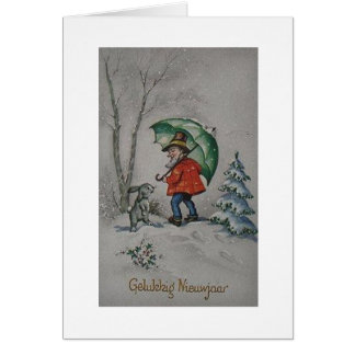 Vintage Dutch  Elf New Year Greeting Card