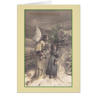 Vintage Dutch Gelukkig Kerstfeest Christmas Card