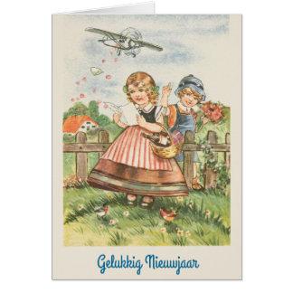 Vintage Dutch New Year Greeting Card