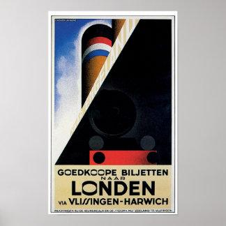 Vintage Dutch Rail Ferry Poster